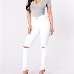 New Fashion Nova Canopy Jeans White High Waist 5